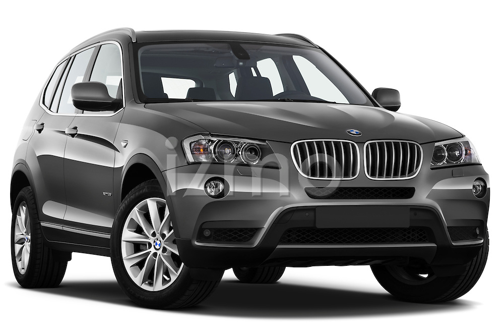 Low aggressive passenger side front three quarter view of a 2011 BMW x3 xDrive35i SUV