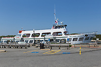 The Island Queen ferry from Martha's Vineyard to Falmouth docked in Oak Bluffs Harbor waiting for its next run.