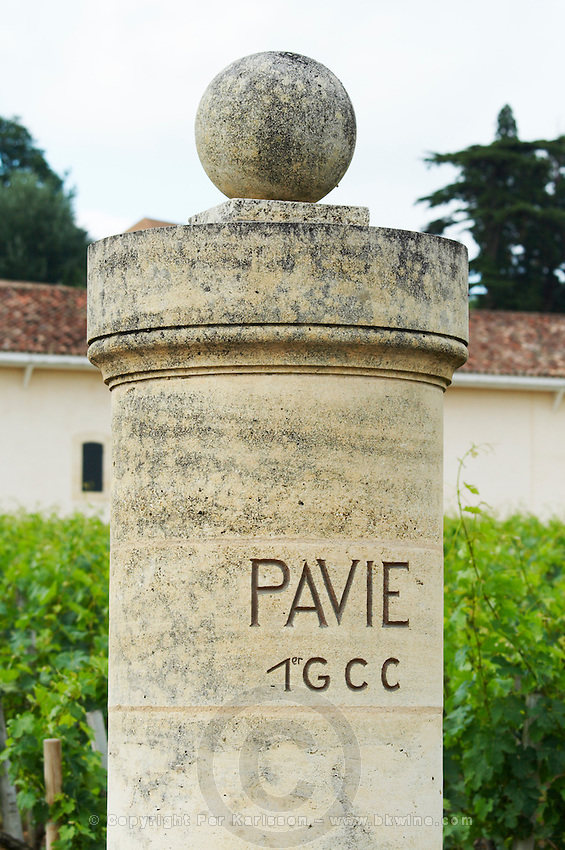 gate post chateau pavie saint emilion bordeaux france