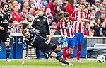 Yannick Ferreira Carrasco (r) of Atletico de Madrid battles for the ball with Toni Kroos of Real Madrid during their 2016-17 UEFA Champions League Semifinals 2nd leg match between Atletico de Madrid and Real Madrid at the Estadio Vicente Calderon on 10 May 2017 in Madrid, Spain. Photo by Diego Gonzalez Souto / Power Sport Images