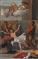 Martyrdom of a saint by burning alive, painting, 1850-62, by Antoine Plamondon, in the Eglise Saint-Francois-de-Sales in Neuville, on the Rue des Erables, part of the Chemin du Roy, Quebec, Canada. The Chemin du Roy or King's Highway is a historic road along the Saint Lawrence river built 1731-37, connecting communities between Quebec City and Montreal. Picture by Manuel Cohen