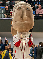 WASHINGTON, DC - FEBRUARY 22: Washington Nationals Dancing President mascot George Washington in the house to celebrate George Washington's birthday with the team during a game between La Salle and George Washington at Charles E Smith Center on February 22, 2020 in Washington, DC.
