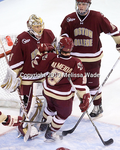 Barry Almeida (BC - 9), John Muse (BC - 1) and Patrick Wey (BC - 6) celebrate the win. - The visiting Boston College Eagles defeated the Boston University Terriers 9-5 on Friday, December 3, 2010, at Agganis Arena in Boston, Massachusetts.