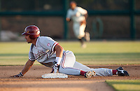 STOCKTON, CA - May 9, 2011: Tyler Gaffney of Stanford baseball slides safely into second for a stolen baseduring Stanford's game against Pacific at Klein Family Field in Stockton. Stanford won 11-5.