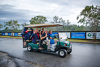 Super-Transport with brilliantly smiling faces. 2018 FEI World Equestrian Games Tryon. Monday 10 September. Copyright Photo: Libby Law Photography