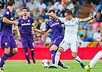 Lucas Vazquez (r) of Real Madrid battles for the ball with Milan Badelj of ACF Fiorentina during the Santiago Bernabeu Trophy 2017 match between Real Madrid and ACF Fiorentina at the Santiago Bernabeu Stadium on 23 August 2017 in Madrid, Spain. Photo by Diego Gonzalez / Power Sport Images