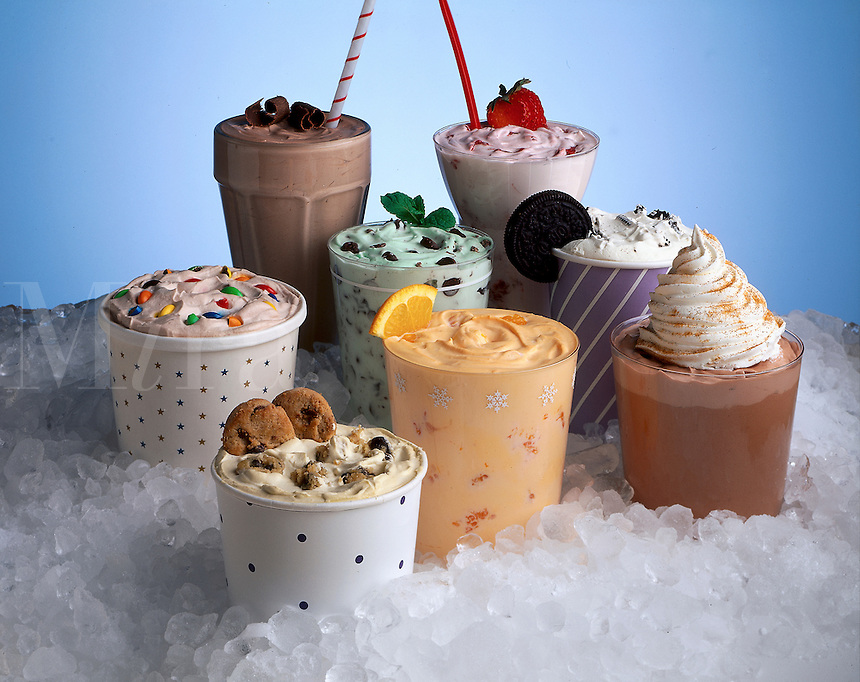 Frozen yogurt drinks and desserts.