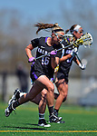 28 April 2012: University at Albany Great Dame attacker Amanda Pollock, a Senior from Syracuse, NY, in action against the University of Vermont Catamounts at Virtue Field in Burlington, Vermont. The Lady Danes defeated the Lady Cats 12-10 in America East Women's Lacrosse. Mandatory Credit: Ed Wolfstein Photo