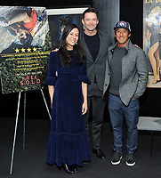 "NEW YORK - DECEMBER 5: L-R; Director E. Chai Vasarhelyi, actor Hugh Jackman and climber/director Jimmy Chin  attend a screening of National Geographic Documentary Films ""Free Solo"" at the Walter Reade Theater on December 5, 2018 in New York City. (Photo by Stephen Smith/National Geographic/PictureGroup)"