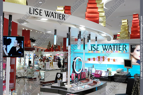 Lise Watier cosmetics and makeup illuminated display in a shopping mall in Toronto Canada