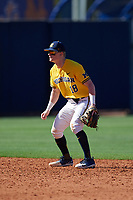 Michigan Wolverines shortstop Jack Blomgren (18) during a game against Army West Point on February 17, 2018 at Tradition Field in St. Lucie, Florida.  Army defeated Michigan 4-3.  (Mike Janes/Four Seam Images)