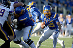 BROOKINGS, SD - DECEMBER 2: Isaac Wallace # 35 from South Dakota State looks for running room against Northern Iowa during their FCS Division 1 playoff game Saturday afternoon at Dana J. Dykhouse Stadium in Brookings, SD. (Photo by Dave Eggen/Inertia)