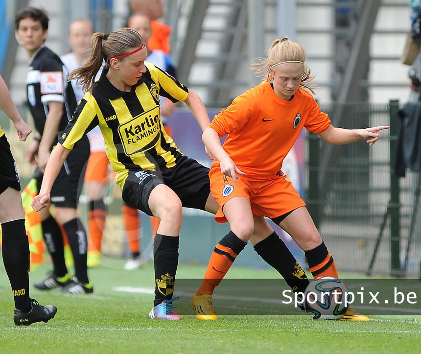 Bekerfinale vrouwen 2015 : Lierse-Club Brugge Vrouwen <br /> <br /> Silke Demeyere (R) in strijd met Hannelore Van Poppel (L)<br /> <br /> foto VDB / BART VANDENBROUCKE