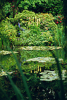 The lily pond in French Impressionist painter Claude Monet's garden, Giverny, France