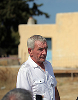 Pictured: Eddie Needham the grandfather of missing Ben Needham gives a brief statement outside the farmhouse where Ben disappeared from in Kos, Greece. Wednesday 05 October 2016<br /> Re: Police teams led by South Yorkshire Police, searching for missing toddler Ben Needham on the Greek island of Kos have moved to a new area in the field they are searching.<br /> Ben, from Sheffield, was 21 months old when he disappeared on 24 July 1991 during a family holiday.<br /> Digging has begun at a new site after a fresh line of inquiry suggested he could have been crushed by a digger.