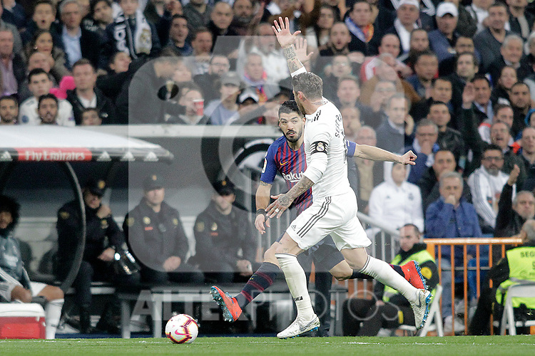 Real Madrid CF's Sergio Ramos and FC Barcelona's Luis Suarez during La Liga match. March 02,2019. (ALTERPHOTOS/Alconada)
