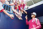 Jameis Winston (Seminoles),<br /> FEBRUARY 25, 2014 - MLB :<br /> Jameis Winston of the Florida State University Seminoles signs autographs for fans during a spring training baseball game between the Florida State University Seminoles and the New York Yankees at George M. Steinbrenner Field in Tampa, Florida, United States. (Photo by Thomas Anderson/AFLO) (JAPANESE NEWSPAPER OUT)