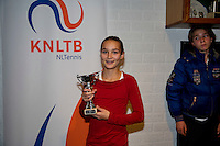 November 30, 2014, Almere, Tennis, Winter Youth Circuit, WJC,  Prizegiving, Jasmijn Gimbère girls 14 years 5th place<br /> Photo: Henk Koster