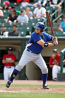 May 2, 2010:  Dan Johnson of the Durham Bulls at bat during a game vs. the Rochester Red Wings at Frontier Field in Rochester, NY.  Rochester defeated Durham in extra innings by the score of 7-6.  Photo By Mike Janes/Four Seam Images