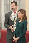 King Felipe VI of Spain and Queen Letizia of Spain attend the 2013 Sports National Awards ceremony at El Pardo palace in Madrid, Spain. December 03, 2014. (ALTERPHOTOS/Victor Blanco)