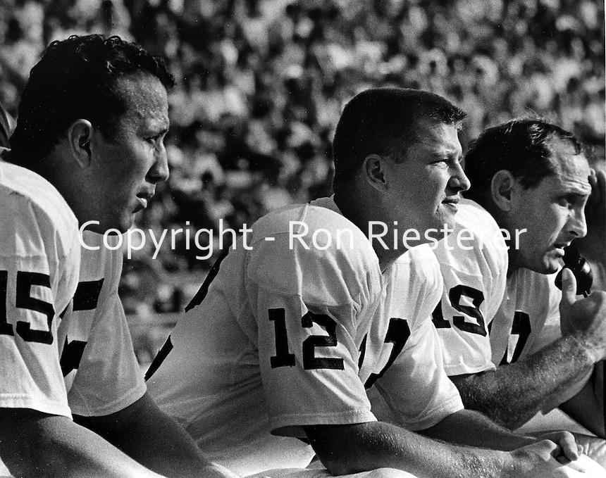 Oakland Raider quarterbacks, Tom Flores, Charlie Green, and Cotton Davidson ( 1966 photo/Ron Riesterer)