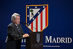 Atletico de Madrid´s president Enrique Cerezo speaks during Matias Kranevitter presentation in Madrid, Spain. January 04, 2015. (ALTERPHOTOS/Victor Blanco)