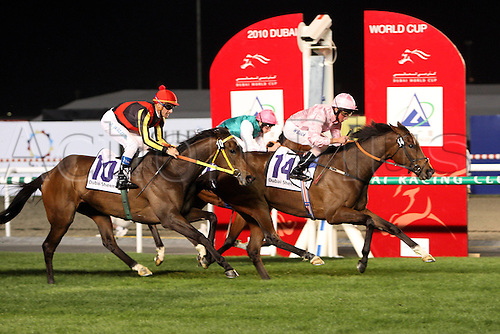 27 03 2010  Worry 27 03 2010 The Dubai World Cup at the United Arab Emirates Meydan Racecourse.  dar right Wed with William Buick Up Wins The Dubai Sheema Classic MEYDAN Racecourse Horse Jockey dar right Wed Buick Victory Target Finish  Equestrian sports riding Horse race Gallop Dubai Sheema Classic
