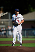 Auburn Doubledays pitcher Carlos Romero (36) during a NY-Penn League game against the West Virginia Black Bears on August 23, 2019 at Falcon Park in Auburn, New York.  West Virginia defeated Auburn 8-1, the first game of a doubleheader.  (Mike Janes/Four Seam Images)