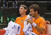 09-09-13,Netherlands, Groningen,  Martini Plaza, Tennis, DavisCup Netherlands-Austria, DavisCup,   Thiemo de Bakker(NED) Jean-Julian Rojer (R)<br /> Photo: Henk Koster