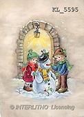 Interlitho, Dani, CHRISTMAS SANTA, SNOWMAN, nostalgic, paintings, 2 kids, snowman(KL5595,#X#) Weihnachten, nostalgisch, Navidad, nostálgico, illustrations, pinturas