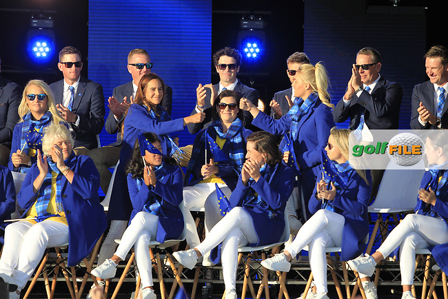 Azahara Munoz and Charlie Hull are paired together in the foursomes during the Opening Ceremony of the Solheim Cup 2019 at Gleneagles Golf CLub, Auchterarder, Perthshire, Scotland. 12/09/2019.<br /> Picture Thos Caffrey / Golffile.ie<br /> <br /> All photo usage must carry mandatory copyright credit (© Golffile | Thos Caffrey)