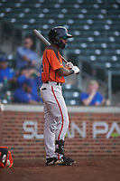AZL Giants Orange Javeyan Williams (34) on deck during an Arizona League game against the AZL Cubs 1 on July 10, 2019 at Sloan Park in Mesa, Arizona. The AZL Giants Orange defeated the AZL Cubs 1 13-8. (Zachary Lucy/Four Seam Images)