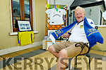 A delighter Michael O'Connor waves his Leeds United scarf celebrating Leeds promotion to the Premiership.