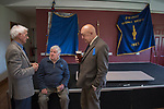 Priddy Friendly Society annual Club Walk Day. Somerset Uk 2019.<br /> Robin Main,Brian Prewer, Phil Henry in the village hall prior to lunch.