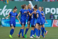 Portland, OR - Saturday May 06, 2017: Jess Fishlock celebrates scoring during a regular season National Women's Soccer League (NWSL) match between the Portland Thorns FC and the Seattle Reign FC at Providence Park.