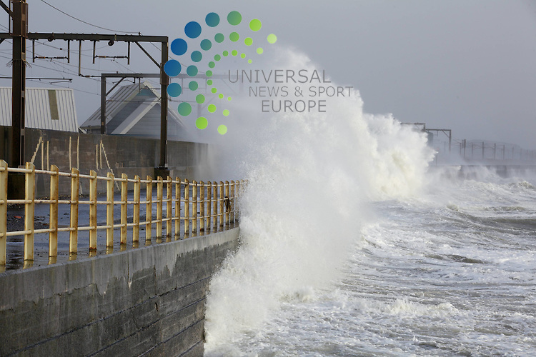 Saltcoats Railway Station on the West Coast of Scotland, the UK, is hit by severe storms. 8 December 2011. Picture by Guy Hinks/Universal News and Sport (Europe)