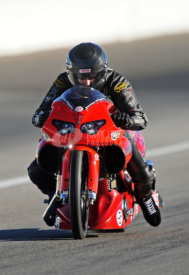 Sept. 4, 2010; Clermont, IN, USA; NHRA pro stock motorcycle rider Junior Pippin during qualifying for the U.S. Nationals at O'Reilly Raceway Park at Indianapolis. Mandatory Credit: Mark J. Rebilas-