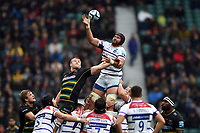 Sione Kalamafoni of Leicester Tigers wins the ball at a lineout. Gallagher Premiership match, between Northampton Saints and Leicester Tigers on October 6, 2018 at Twickenham Stadium in London, England. Photo by: Patrick Khachfe / JMP
