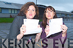 ALL QUEUED OUT: Ann Kelly, Alderwood Road, Tralee and Audrey OConnell, Caherslee both queued on Monday morning in Mercy Mounthawk Secondary school to try and get a school place for their sons in the 2008 school term.