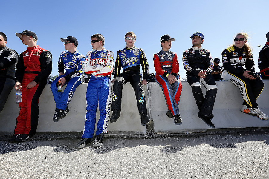 MOBILE, AL - MARCH 13: NASCAR K&N drivers rest before the NASCAR K&N Pro Series East Mobile 150 on March 13, 2016 in Mobile, Alabama.  (Photo by Jonathan Bachman/NASCAR via Getty Images)