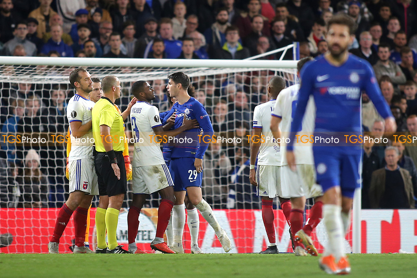 Chelsea's Alvaro Morata shows his frustration after an incident with Mol Vidi's Roland Juhasz during Chelsea vs MOL Vidi, UEFA Europa League Football at Stamford Bridge on 4th October 2018