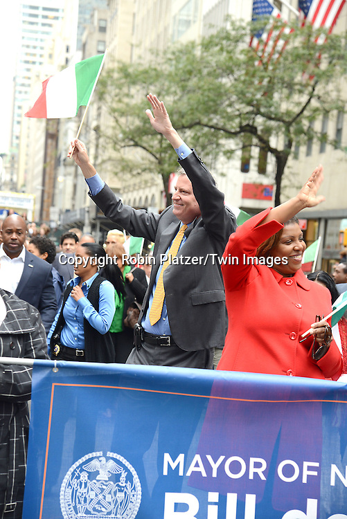 Mayor Bill de Blasio and Letitia James march in the 70th Annual Columbus Day Parade on October 13, 2014 on Fifth Avenue in New York City. <br /> <br /> photo by Robin Platzer/Twin Images<br />  <br /> phone number 212-935-0770