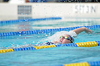 14 January 2012:  FIU's Jeanmarie Madison competes in the 400 yard individual medley as the FIU Golden Panthers won the meet with the Central Connecticut State University Blue Devils at the Biscayne Bay Campus Aquatics Center in Miami, Florida.