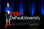 "Jeanne Williams, emcee of the event, welcomes guests to TEDxDePaulUniversity Tuesday, April 18, 2017, in the Lincoln Park Student Center. TEDxDePaulUniversity is an independently run, self-organized event. Through the theme ""Courage to Connect"" 10 speakers from across the DePaul community challenged thoughts and inspired ideas through a series of engaging talks and presentations. (DePaul University/Jeff Carrion)"