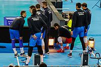 CURITIBA,PR, - 05.07.2017 – SÉRVIA-EUA - Jogador da Sérvia se aquece durante jogo válido pela liga mundial de vôlei contra o EUA no estádio Arena da Baixada, em Curitiba nesta quarta-feira (05). (Foto: Paulo Lisboa/Brazil Photo Press)