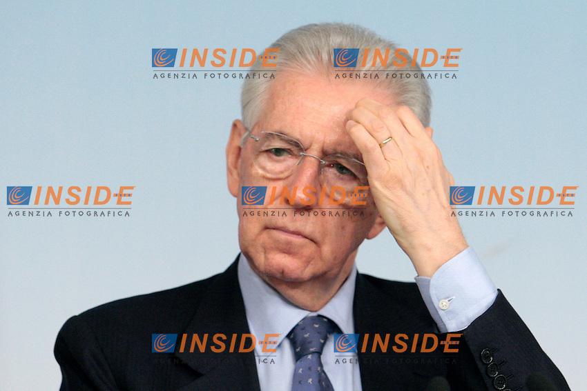 Mario Monti.Roma 18/04/2012 Palazzo Chigi. Conferenza stampa al termine del consiglio dei Ministri sul DEF..Photo Samantha Zucchi Insidefoto