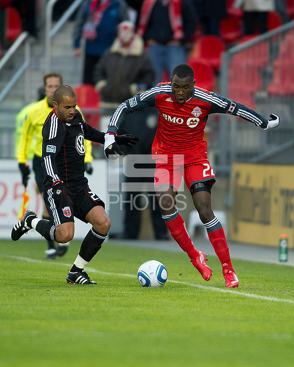 16 April 2011: D.C. United midfielder/forward Fred #27 and Toronto FC midfielder Tony Tchani #22 in action during an MLS game between D.C. United and the Toronto FC at BMO Field in Toronto, Ontario Canada..D.C. United won 3-0.