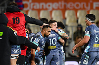 25th July 2020, Christchurch, New Zealand;  Hurricanes celebrate the Wes Goosen of the Hurricanes try during the Super Rugby Aotearoa, Crusaders versus Hurricanes at Orangetheory stadium, Christchurch