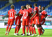 CALI - COLOMBIA, 05-09-2018: Jugadores de América Cali celebran el gol anotado opr Alejandro Bernal a Jaguares de Cordoba durante partido por la fecha 8 de la Liga Águila II 2018 jugado en el estadio Pascual Guerrero de la ciudad de Cali. / Players of America de Cali celebrate the goal scored by Alejandro Bernal to Jaguares de Cordoba during match for the date 8 of the Aguila League II 2018 played at Pascual Guerrero stadium in Cali. Photo: VizzorImage / Nelson Rios / Cont