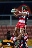 Jamie Gilbert Clark claims lineout ball. Counties Manukau Premier Club Rugby game played between Karaka and Bombay at Waikato Stadium as a curtain raiser to the Chiefs vs Highlanders Super 15 rugby match on May 7th 2011. Karaka won the game 19 - 17.